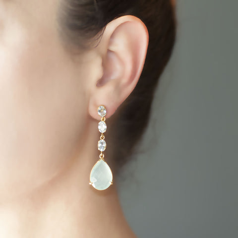 Aquamarine Three Stone Drop Aqua Chalcedony Earring