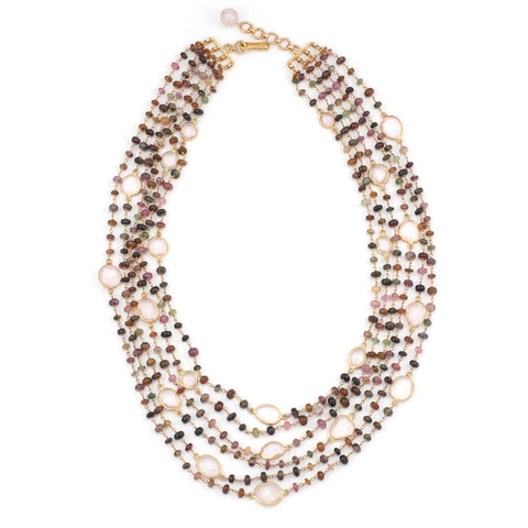 Multi Strand Tourmaline and Rose Quartz Necklace