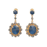 Blue Sapphire and Black Diamond Earring