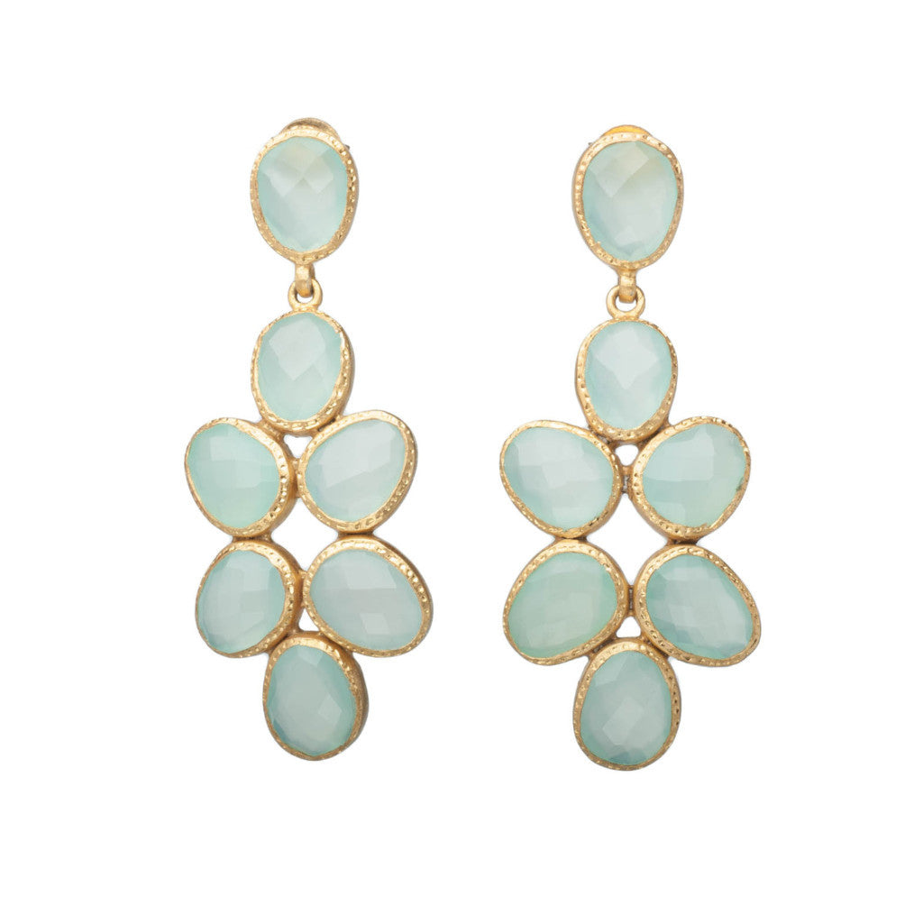 Aqua Chalcedony Gold Chandelier Earrings