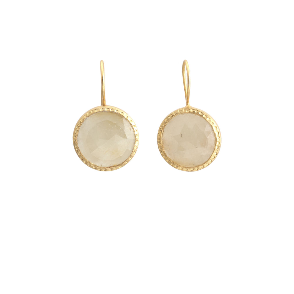 Yellow Sapphire Hammered Border Earrings