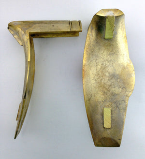 Yellow brass Eister style buttplate investment cast and designed by Jim Kibler side and back view