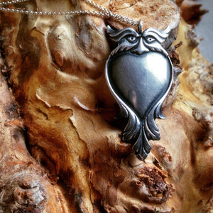 Nicholas Paris Jim Kibler Owl Heart Silver Necklace