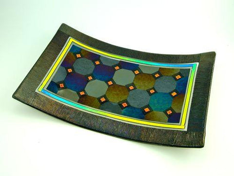 Harlequin with a Border Tray - Orange Dichroic