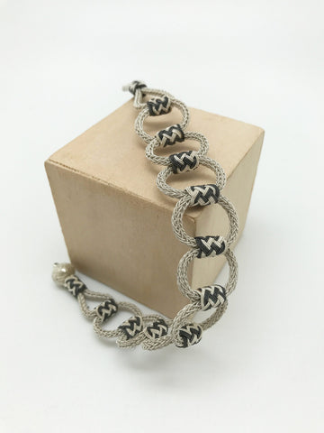 Hand Woven Two-tone Stretchable Bracelet