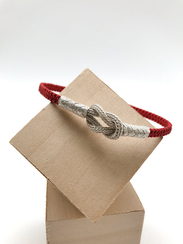 Love Knot Bracelet with Red Fabric Jewelry Cord