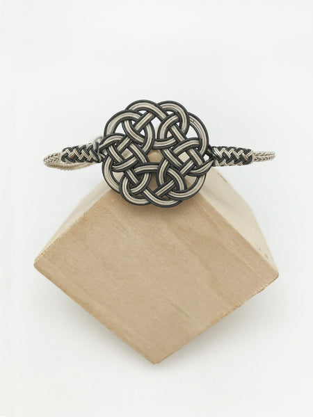 Hand Woven Two-tone Kazaz Bracelet with Celtic Pattern