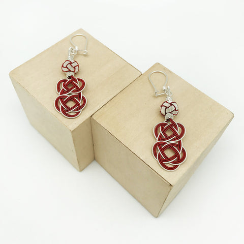 Hand Woven Red Silver Kazaz Earring