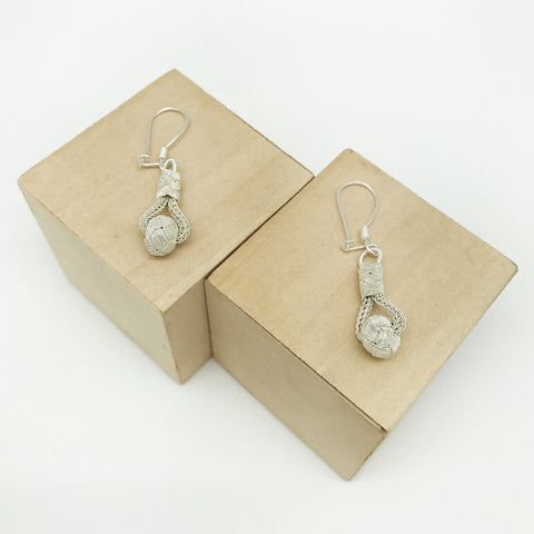 Hand Woven Silver Kazaz Earring Single-Tone Valentine's day gift