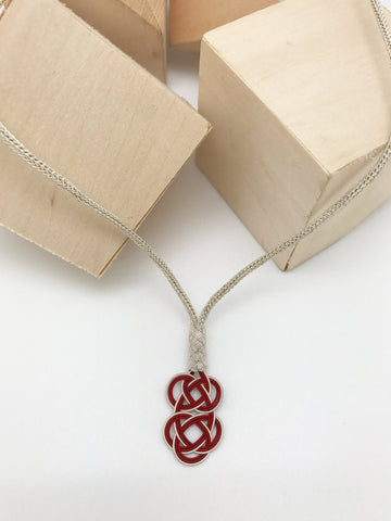 Hand Woven Silver White&Red Kazaz Necklace
