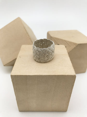 Hand Woven Silver Kazaz Ring single-Tone Valentine's day gift