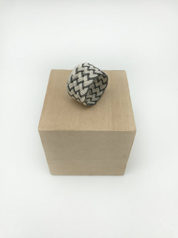Hand Woven Silver Kazaz Ring Two-Tone
