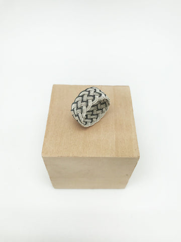 Hand Woven Silver Kazaz Ring Two-Tone Valentine's day gift