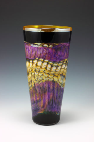 Amethyst and Black Opal Cone Vase