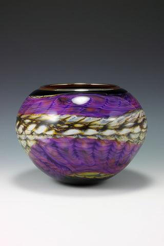 Amethyst and Black Opal Open Bowl with Metallic Lip