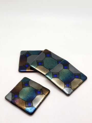 Harlequin Coasters with Blue Diamond