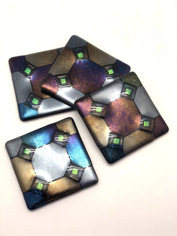Harlequin Coasters with Green Diamonds