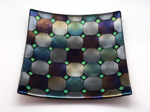 Fused Glass Plate - Harlequin Design