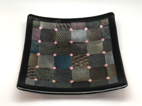 Fused Glass Plate - Patchwork Design
