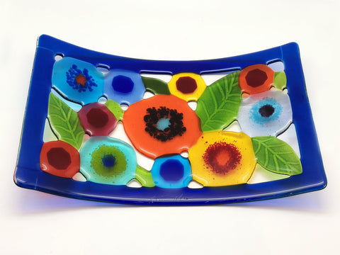 Spring Garden Tray with Blue Border