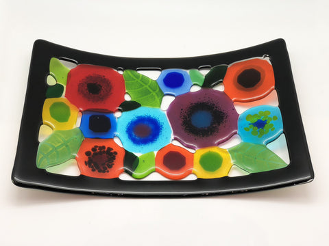 Spring Garden Tray with Black Border