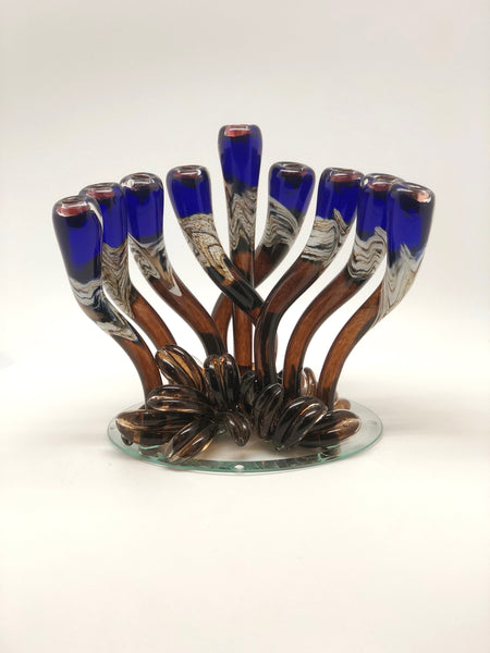 Blue Swirly Menorah