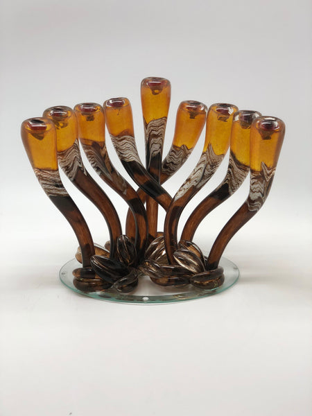 Yellow Swirly Menorah