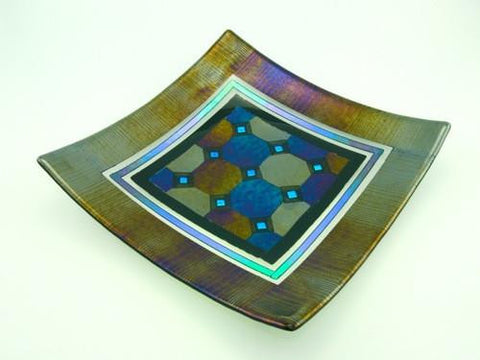 Fused Glass Plate - Harlequin Design with Border