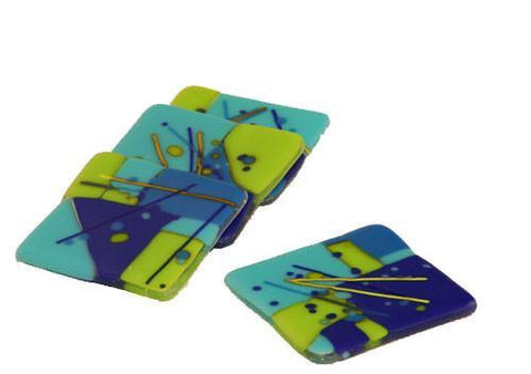 Blue Fused Glass Coasters