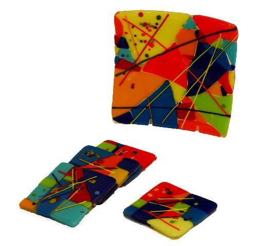 Colorful Fused Glass Coasters