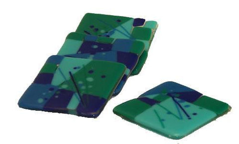 Dark Blue Fused Glass Coasters
