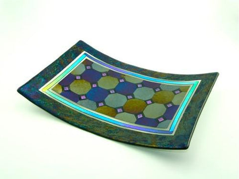 Harlequin with a Border Tray - Violet Dichroic