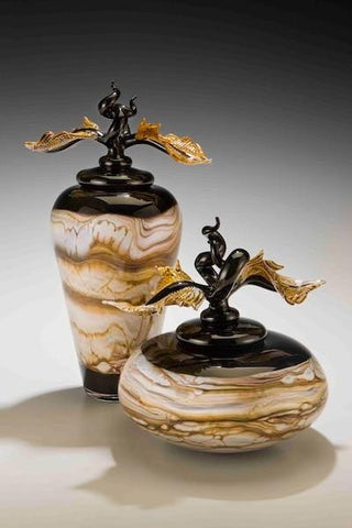 Black Strata Jar & Bowl with Avian Finials