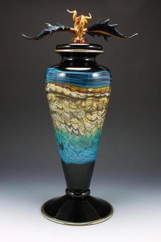 Black and Turquoise Opal Footed Vessel with Avian Finial
