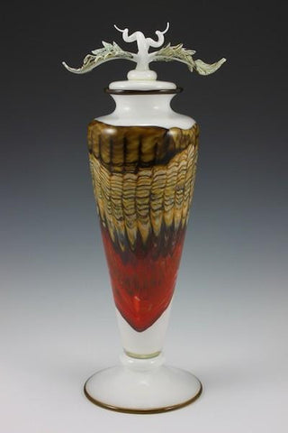 Opal Footed Vessel with Avian Finial