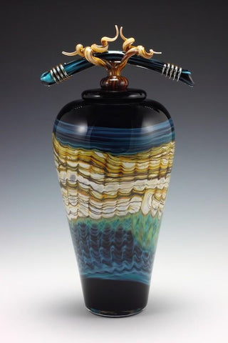Black Sargasso Covered Jar with Bone & Tendril Finial