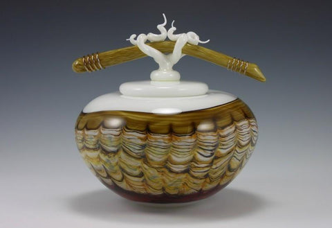 Sargasso Covered Tall Bowl with Bone & Tendril Finial