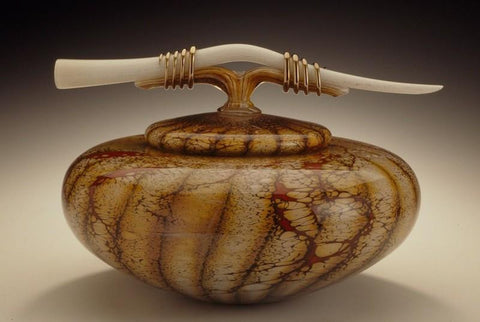 Batik Covered Bowl with Tied Bone Finial
