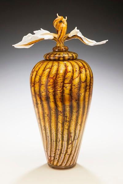Batik Covered Jar with Avian Finial