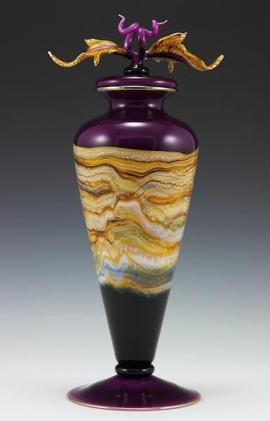 Amethyst Strata Footed Vessel with Avian Finial