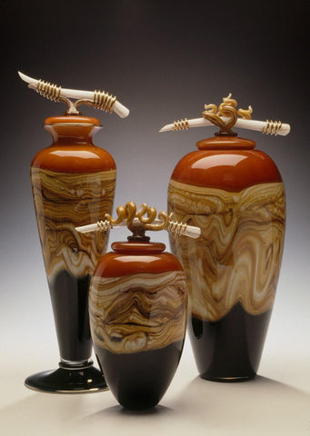 Tangerine Vessels with Bone & Tendril Finials