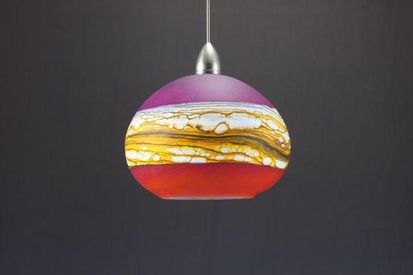 Round Strata Pendant in Ruby & Tangerine