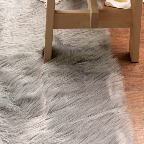 gray faux fur rug for home and living