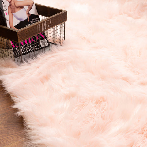 pink shag rug for home decor
