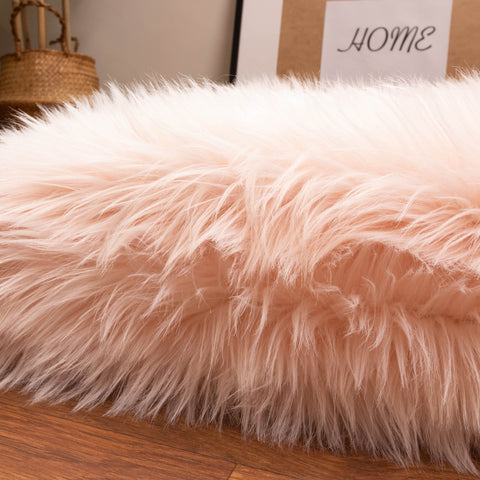 long faux fur rug in pink for girls room