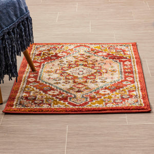 Jolly Traditional Heriz Rug in Pink,Yellow