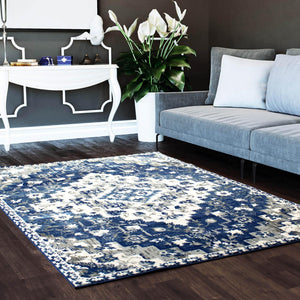 Kaelyn Southwestern Area Rug in Blue and Ivory