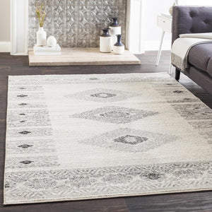 Ankara Southwestern Non-Sheddng Area Rug in Medium Gray