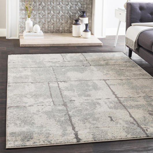 Von Lines Non-Sheddng Area Rug in Medium Gray