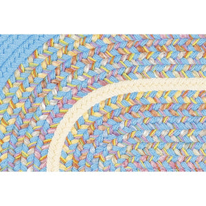 Juvi Playroom Braided Rug in Aqua Blue Banded